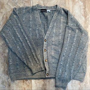 Cropped Grandpa Knit Sweater Cardigan XL